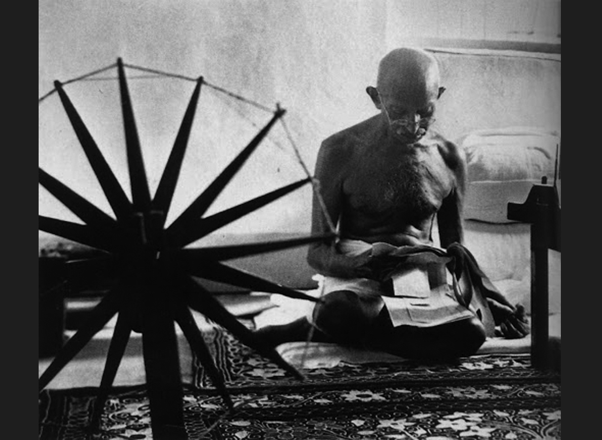 Mahatma Gandhi and the Spinning Wheel, 1946